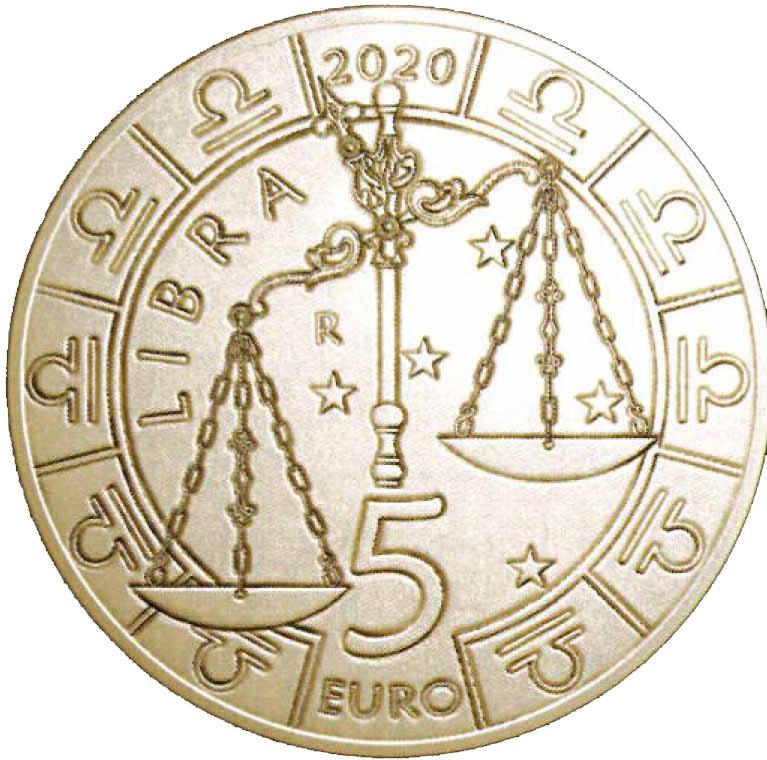 """La Bilancia, """"Libra"""" in lingua latina, sui 5 euro Zodiaco disegnati da Annalisa Masini per San Marino"""