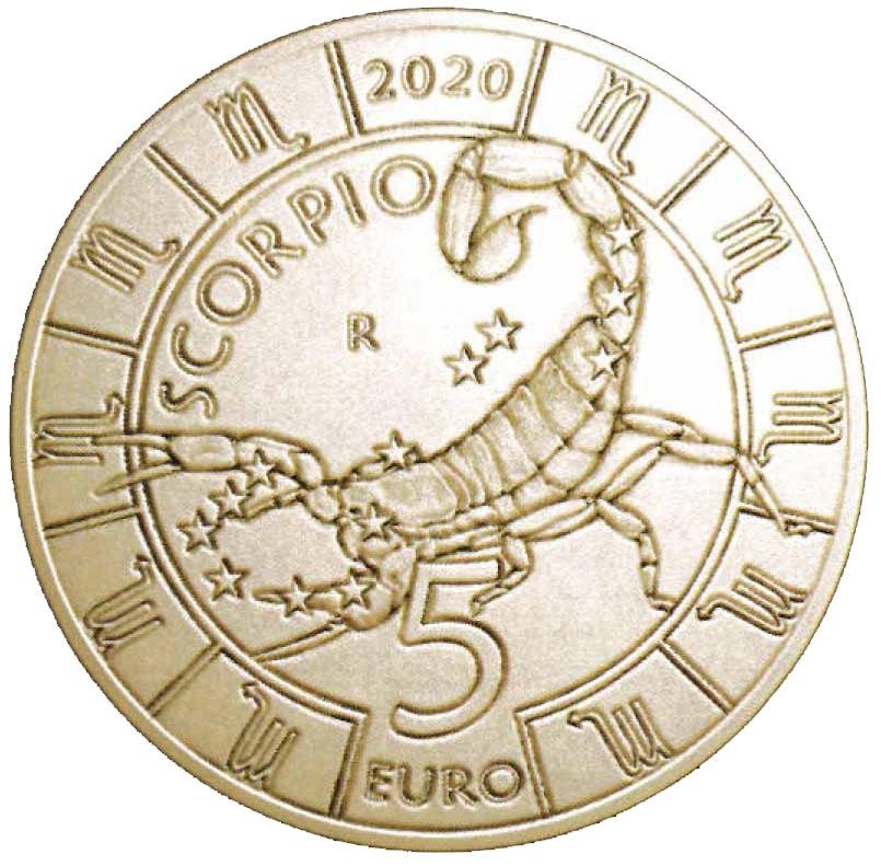 Lo Scoprione, ottavo segno dello Zodiaco, sui 5 euro che il Titano emetterà in agosto