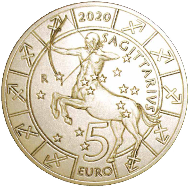 Completa il trittico delle monete zodiacali da 5 euro millesimate 2020 il Sagittario