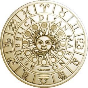 Il Sole, le fasi lunari, i simboli zodiacali sul dritto comune a tutte le dodici monete di San Marino dedicate alle costellazioni