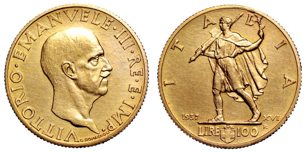 Le 100 lire oro Littore II Tipo furono coniate ed emesse per la prima e unica volta 1937-XVI in appena 249 esemplari