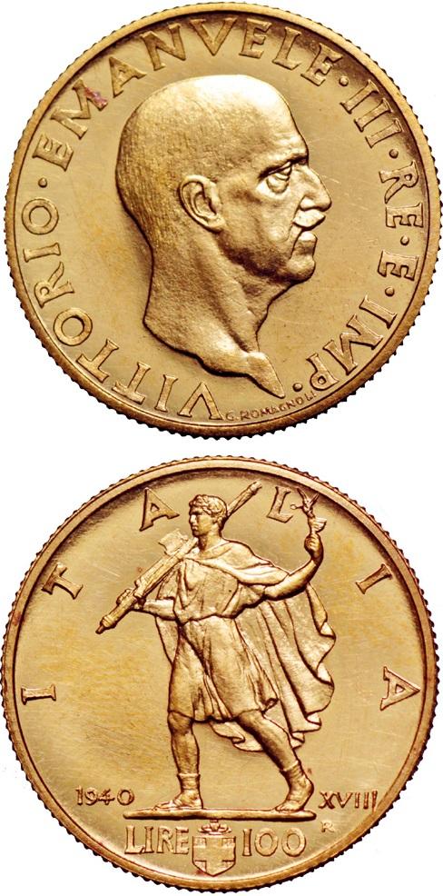 La 100 lire oro 1940-XVIII venduta all'asta nel 2013: si tratta di una delle massime rarità del Regno d'Italia