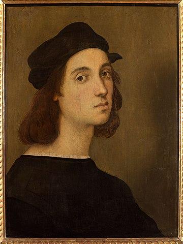 Raffaello Sanzio nel celebre autoritratto che si trova ad Urbino, nella casa natale del grande pittore e architetto
