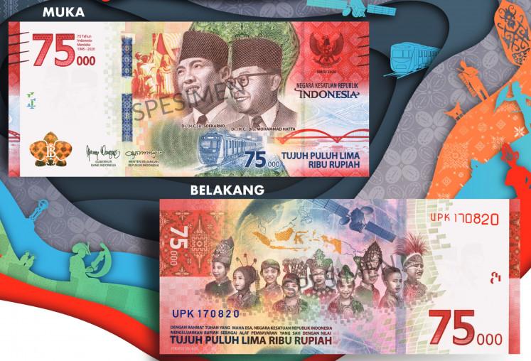 La nuova banconota commemorativa emessa dall'Indonesia commemora i 75 anni di indipendenza del paese dai Paesi Bassi attraverso una serie di ritratti di giovani e del primo presidente e vicepresidente