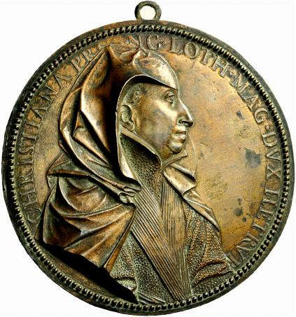 Placchetta uniface in bronzo con appiccagnolo raffigurante Cristina di Lorena velata e drappeggiata, opera di Guillaume Duprè