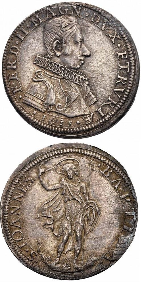 Una magnifica piastra in argento del 1635 con ritratto di Ferdinando II de' Medici e la figura in ppiedi del Battista