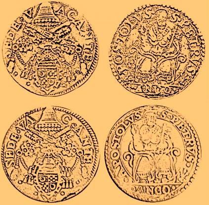 Elaborazione grafica delle due varianti note di testone per Ancona della Sede Vacante 1565