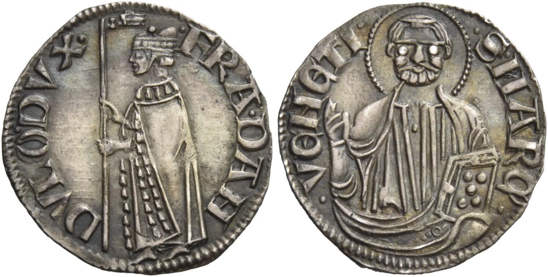 Il mezzanino di Francesco Dandolo con la sola figura del doge con stendardo sul dritto e con il mezzo busto, di stile ancora arcaico, di san Marco benedicente sul rovescio