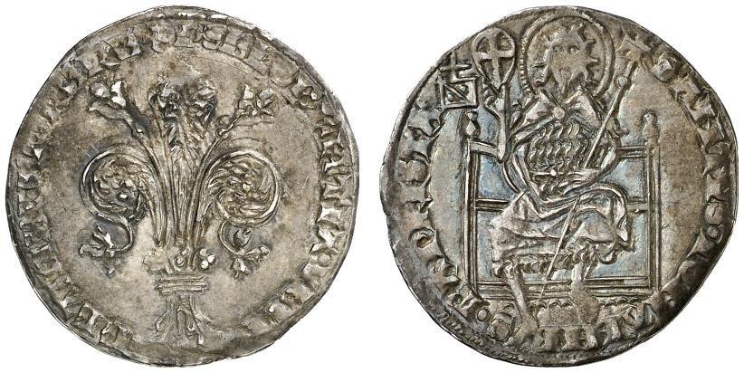 Grosso guelfo di Firenze coniato nel 1376: di buon argento, di fine fattura, fu una delle monete medievali italiane più fortunatee  contrapposta, per secoli, a quella di Venezia