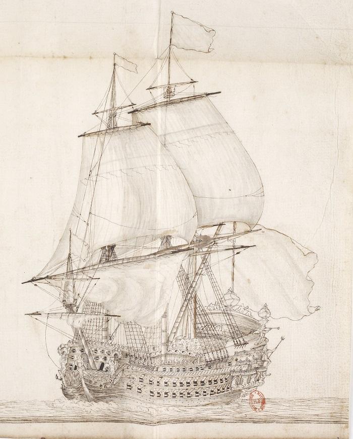 """La """"Soleil Royal"""" in navigazione in un antico disegno: varata nel 1669, la nave era lunga 61 metri, dislocava 1680 tonnellate ed era armata con 104 cannoni"""
