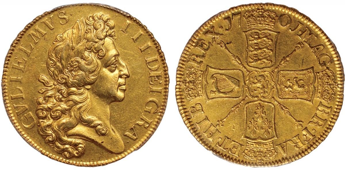 Una rarissima moneta in oro da 5 ghinee con magnifico ritratto di Guglielmo III, fondatore della Royal Navy, coniata nel 1701 e testimonianza del potere economico raggiunto dall'Inghilterra a scapito di Francia e Spagna