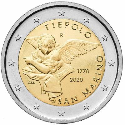 La bella 2 euro sammarinese 2020 per Tiepolo modellata da Claudia Momoni