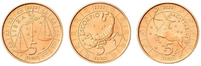 Bilancia, Scorpione e Sagittario per le tre monete da 5 euro serie Zodiaco che il Titano emette quest'anno in previsione di un completamento della serie nel 2021