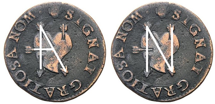 Le lettere A ed N del nome ANNA (per Anna Pelloni, amata da Siro) si comporrebbero facilmente seguendo le frecce sul rovescio della questa rarissima monetina di inizio XVII secolo