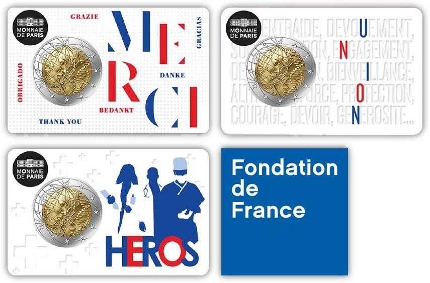 Ecco i tre speciali blister della nuova 2 eurocommemorativa di Francia dedicata alla ricerca medica: per ogni confezione venduta, 2 euro saranno devoluti dalla Monnaie de Paris alla Fondation de France