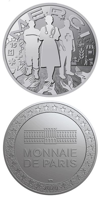 """In primavera, in piena emergenza Covid-19, la Francia aveva emesso una medaglia in metallo argentato per un """"merci"""" a tutti coloro che si stavano impegnando nel combattere la pandemia"""