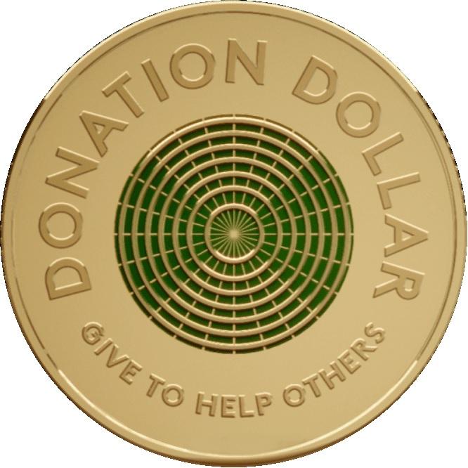 """Il rovescio del """"Donation dollar"""" emesso dall'Australia e destinato a donazioni benefiche alle organizzazioni caritative del paese"""