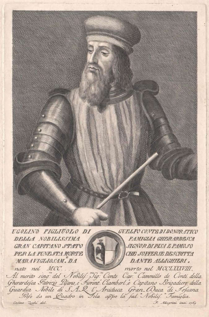 """Il conte Ugolino della Gherardesca, qui ricordato non solo per il suo triste ruolo nella """"Divina Commedia"""" ma anche come feudatario di Donoratico"""