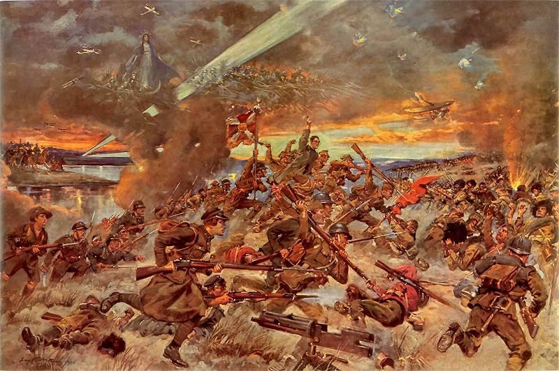 """""""Il miracolo della Vistola"""", dipinto in cui la Battaglia di Varsavia tra Polacchi e Sovietici del 1920 è effigiata con epica complessità ed esaltata nella natura quasi """"soprannaturale"""" del suo esito"""