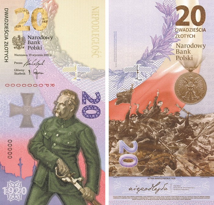 Ecco la banconota commemorativa che la Narodowy Bank Polski ha emesso in agosto per celebrare i cento anni dalla vittoria polacca sull'Armata Rossa, che allontanò dal paese lo spettro del giogo sovietico