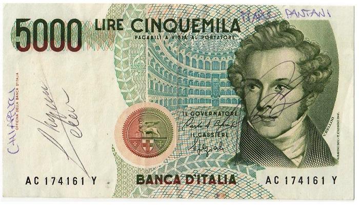 La numismatica incontra lo sport: un'affascinante 5000 lire con gli autografi di due campioni del ciclismo, Claudio Chiappucci e Marco Pantani