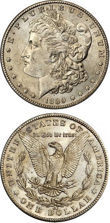 Un rarissimo esemplare di dollaro Morgan del 1889 uscito dalle presse della zecca di Carson City