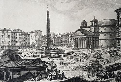 """Stampa in cui l'antica vocazione """"mercantile"""" di piazza della Rotonda ci appare evidente nelle tante bancarelle e nei """"negozi provvisori"""" che circondano l'obelisco"""
