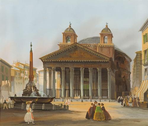 Un bel dipinto di inizio XIX secolo che mostra il Pantheon e la fontana con obelisco che si trova al centro della famosa piazza romana