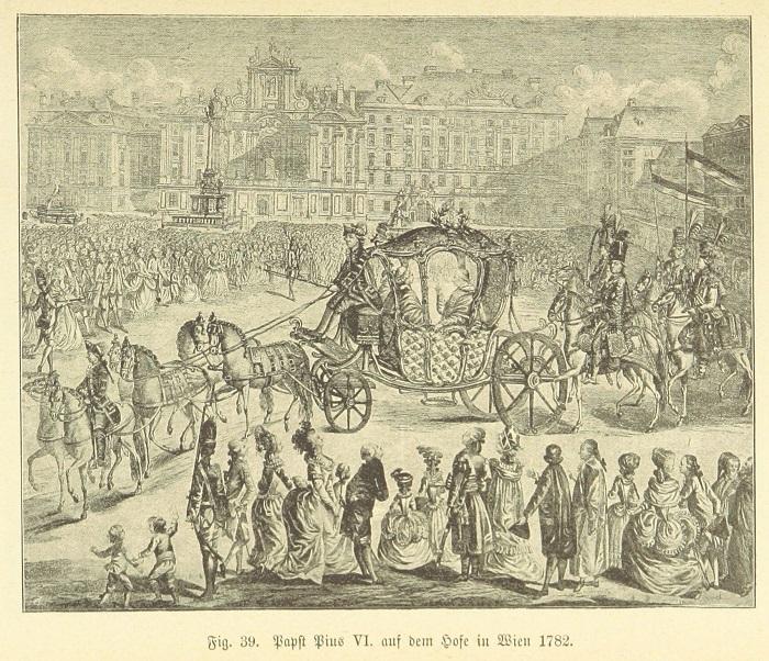 L'arrivo di papa Pio VI Braschi a Vienna nel 1782 in un'incisione dell'epoca