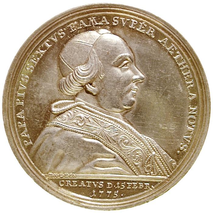 Il bel ritratto di Pio VI sul dritto della medaglia per il viaggio a Vienna coniata nella capitale austriaca e incisa da Johann Leonhard Oexlein