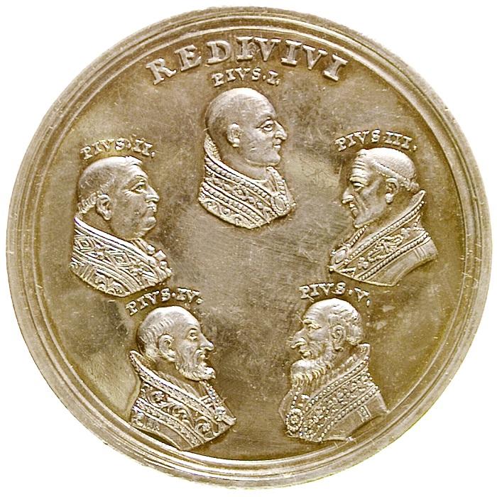 """Sono tutte """"citazioni medaglistiche"""", ad eccezione del volto di Pio I, i ritratti dei papi """"Pio"""" effigiati sul rovescio della medaglia del 1782"""