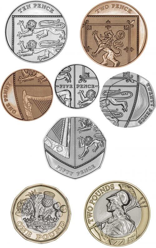 I rovesci degli spiccioli di circolazione in Gran Bretagna dal 2015: i sei tagli più bassi compongono una moderna versione dell'araldica del Regno Unito