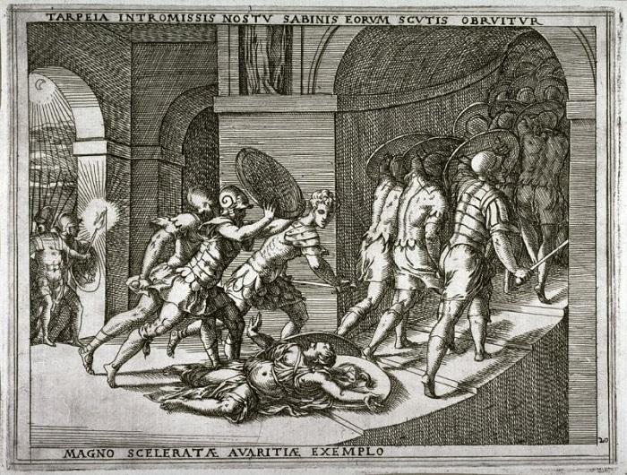 """In una bella incisione del XVIII secolo, la storia di Tarpeia additata come """"Magno sceleratea avaritiae exemplo"""""""