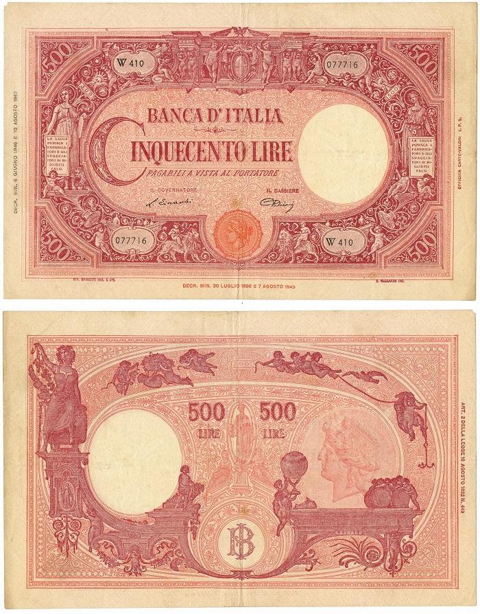 La banconota da 500 lire a firme Einaudi-Urbini del tipo qui illustrato è l'unica che si può considerare emessa durante il periodo di Umberto II come ultimo re d'Italia