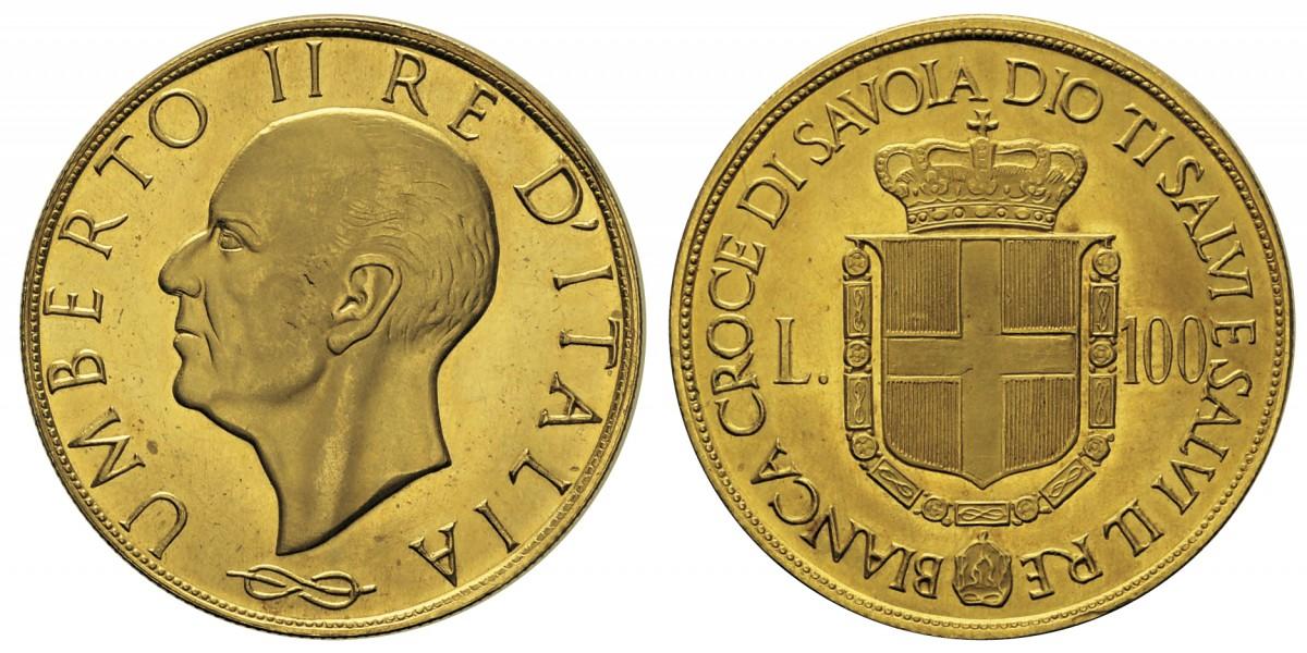 """Nel tempo sono apparse sul mercato varie """"pseudo monete"""" a nome di Umberto II di Savoia come questa """"100 lire oro"""" senza data (in realtà, si tratta di una medaglia di produzione privata)"""