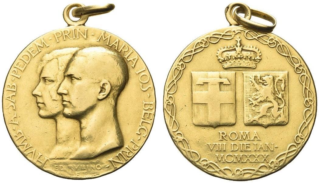 Medaglia in oro per le nozze con Maria José del Belgio celebrate l'8 gennaio 1930