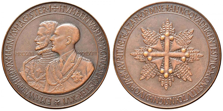 Medaglia in bronzo del 1973 che celebra Emanuele FIliberto duca di Savoia, fondatore quattro secoli prima dell'Ordine Mauriziano; con lui, il gran maestro in carica Umberto