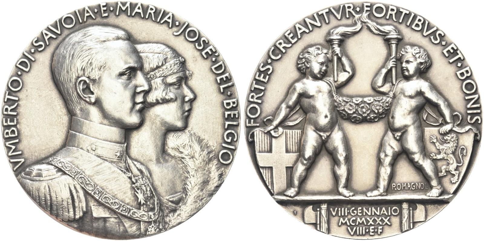 La magnifica medaglia nuziale modellata da Giuseppe Romagnoli e coniata dalla Regia Zecca nel 1930