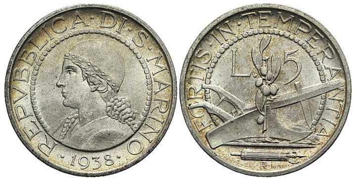 La Repubblica in sembianze di donna sulla moneta da 5 lire d'argento sammarinese
