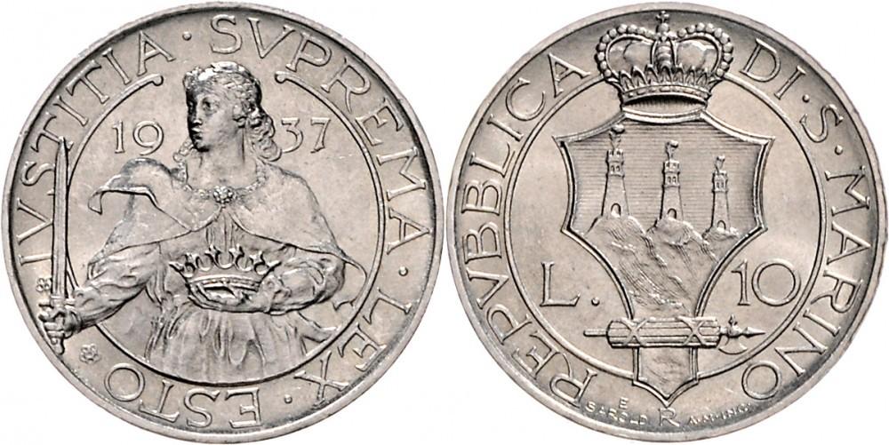 le 10 lire al tipo della Giustizia sono battute in argento 835, pesano 10 grammi per 27 millimetri di diametro