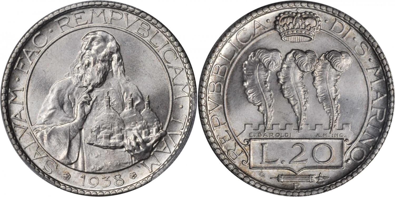 Quindici grammi di argento 800 per 35,5 millimetri di diametro, queste le misure della bella 20 lire di San Marino coniata nel 1931-1933 e nel 1935-1938