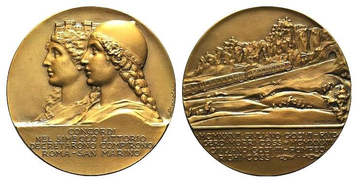 Nel 1932 viene inaugurata la prima ferrovia sammarinese, che collega il Titano con Rimini ed Enrico Saroldi effigia sul dritto della medaglia celebrativa la stessa Repubblica già usata per le 5 lire