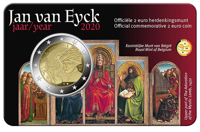 """Il """"Polittico di Gand"""", uno dei capolavori di Van Eyck, abbellisce la coincard in cui la zecca belga propone la 2 euro 2020 per il pittore vissuto tra XIV e XV secolo"""
