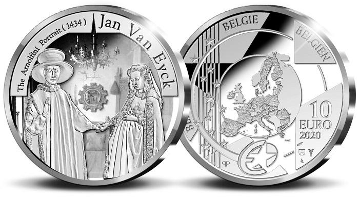 Il mercante lucchese Giovanni Arnolfini e la moglie Costanza Trenta ritratti da Van Eyck e oggi sui 10 euro in argento coniati dal Belgio nell'ambito dell'Europa Star Programme 2020