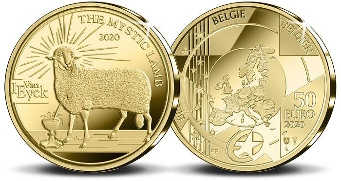 """Un dettaglio de """"L'Adorazione dell'Agnello mistico"""" sulla 50 euro in oro emessa in soli mille esemplari proof e che completa la serie per Van Eyck"""