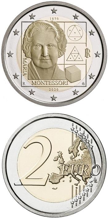 Maria Montessori, nata un secolo e mezzo fa, nella moneta proof da 2 euro che l'Italia gli ha dedicato quest'anno