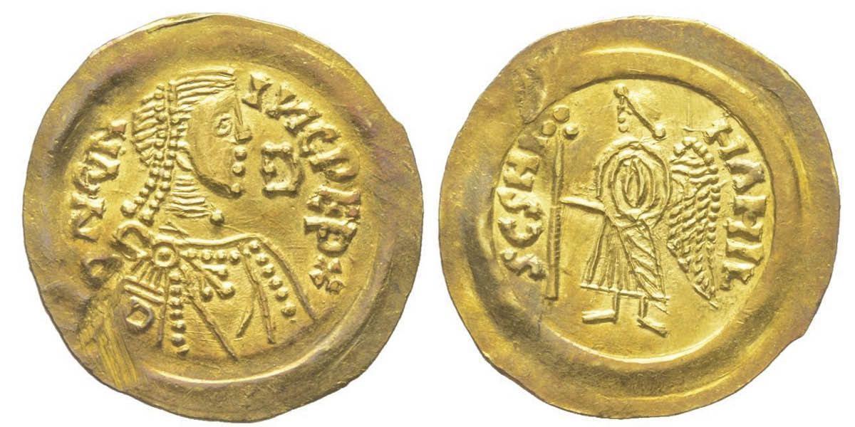 Tremisse aureo di Cuniperto della zecca di Pavia