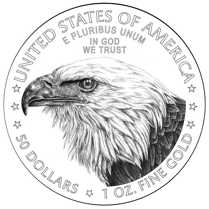 Dal 2021 l'oncia d'oro americana da 50 dollari porterà un nuovo dritto che punta tutto sullo sguardo dell'aquila, animale nazionale e simbolo di questa serie numismatica