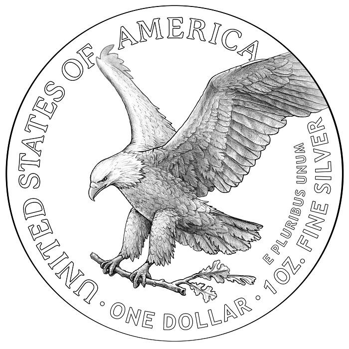 Sul dollaro d'argento nuova versione, invece, un'aquila a figura intera mentre sta per posarsi sul nido portando fra i rostri un rametto di quercia