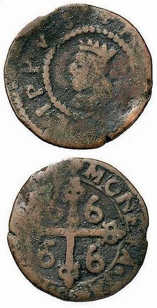Moneta autentica da 3 cagliaresi di Filippo IV di Spagna: come quelle di Filippo III, fu bersaglio di molte grossolane falsificazioni